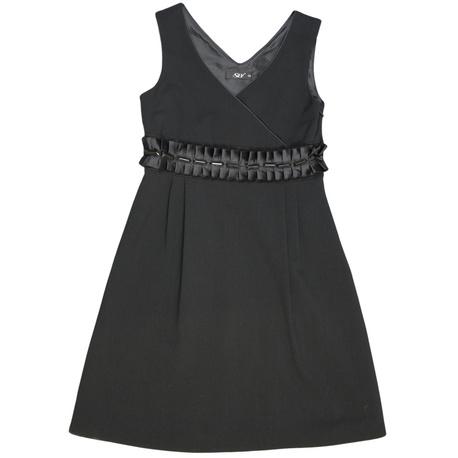 Czarna sukienka dla dziewczynki do szkoły,na galowo, z zakładkami, sklep e-zygzak.pl