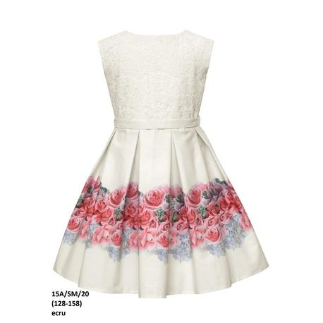 Wizytowa sukienka na przebranie po komunii 15A/SM/20, z koronką, w drukowane róże, sklep e-zygzak.pl