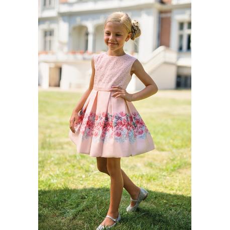 Wizytowa sukienka na przebranie po komunii 15B/SM/20,różowa,z koronką, sklep internetowy