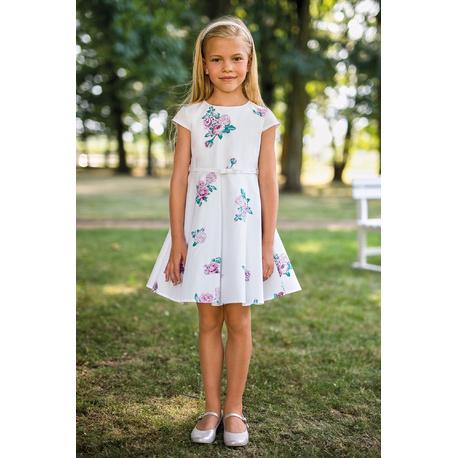 Sukienka dziewczęca w kwiatowe printy 36A/SM/20, wizytowa, na przebranie po komunii, e-zygzak.pl