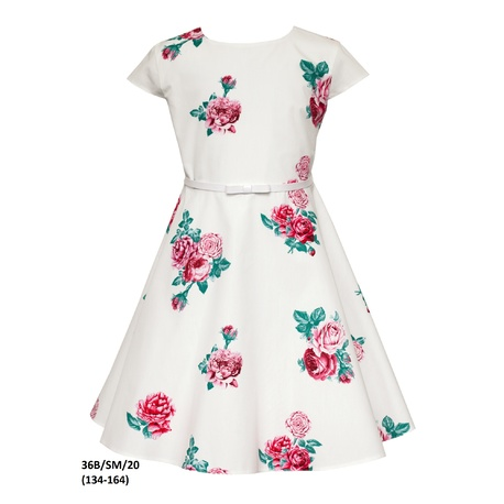 Sukienka dziewczęca w kwiatowe printy 36B/SM/20, elegancka, na przebranie po komunii, sklep e-zygzak.pl