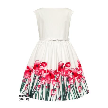 Dziewczęca sukienka rozkolszowana 40B/SM/20, kwiatowa, na wesela, na komunię, sklap e-zygzak.pl