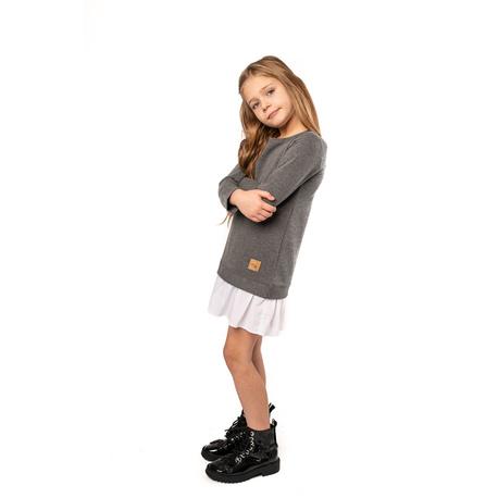 Sukienka dresowa z plisą dla dziewczynki antracyt, do szkoły na sportowo,e-zygzak.pl