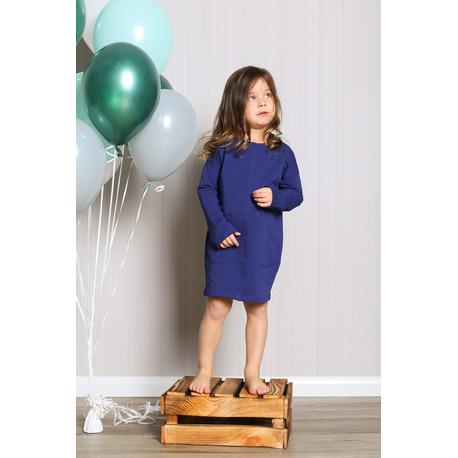 Sukienka dresowa z kieszeniami dla dziewczynki granatowa, mieciutka, wygodna, sklep e-zygzak.pl