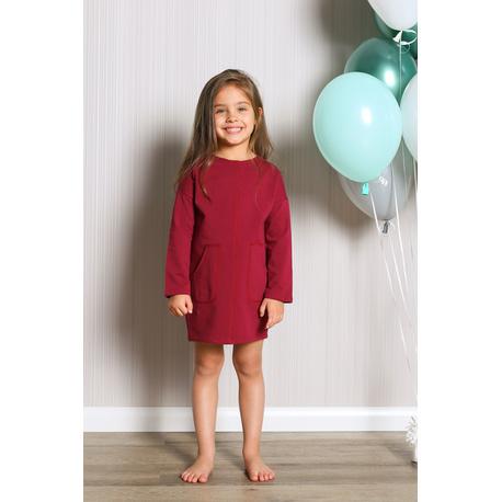 Sukienka dresowa z kieszeniami dla dziewczynki bordo, na sportowo, wygodnie, sklep e-zygzak.pl