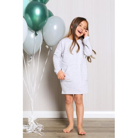 Sukienka dresowa z kieszeniami dla dziewczynki jasny szary, na sportowo, do szkoły, wygodnie, sklep e-zygzak.pl