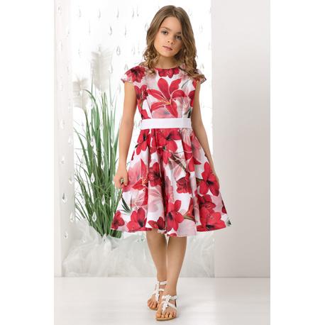 Sukienka dla dziewczynki Holly czerwone kwiaty, na przebranie, na wesela, kolorowa,e-zygzak.l