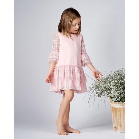 Sukienka dziewczęca z plisowaną koronką Rena różowa, na wesela, okazjonalna, elegancka, sklep internetowy