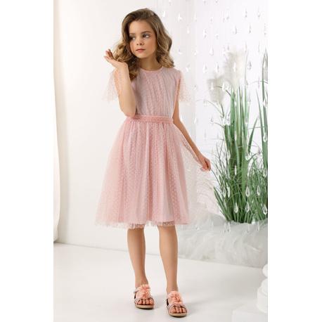 Sukienka z tiulu dla dziewczynki Lauren morelowa, na wesela, okazjonalna, w kropeczki, e-zygzak.pl