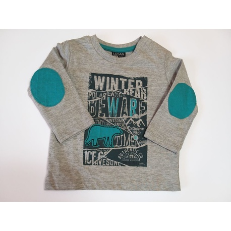 Szara bluza dla chłopca LOSAN,bawełniana, dla niemowlaka, zapinana na ramieniu, e-zygzak.pl