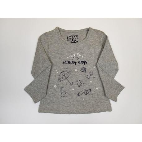 Szara bluzka dla dziewczynki LOSAN, bawełniana, do getrów i jeansów, sklep e-zygzak.pl