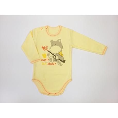 Body niemowlęce Dino żółte, bawełniane, zapinane na dwa napy, e-zygzak.pl