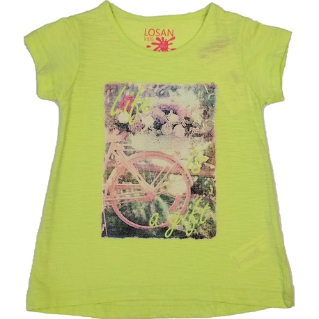 Bluzka z krótkim rękawkiem limonkowa LOSAN, bawełniana, typu tunika, do getrów, e-zygzak.pl 1