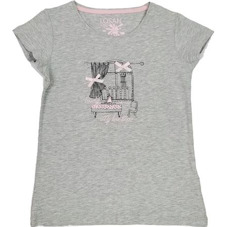 Bluzka z krótkim rękawkiem szary melanż LOSAN, bawełniana, z nadrukiem, sklep e-zygzak.pl