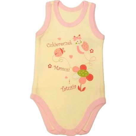 Body niemowlęce na ramiączkach kremowe, bawełniane ubranko, zapinane na napy, e-zygzak.pl