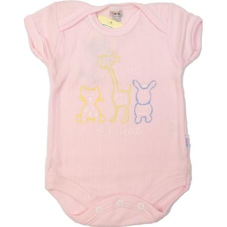 Body niemowlęce bawełniane różowe, zapinane na napy, e-zygzak.pl