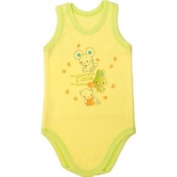 Body niemowlęce na ramiączkach z zieloną lamówką, bawełniane, zapinane na napy ,e-zygzak.pl
