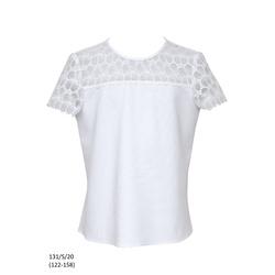 Bluzka biała szkolna z koronką dla dziewczynki 131/S/20, wizytowa, do spodni, do spódnicy, e-zygzak.pl