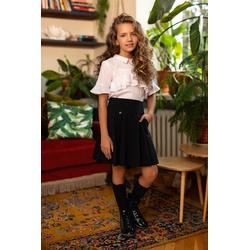 Dziewczęca biała bluzka z falbankami 113/S/20, krótki rękaw, do szkoły, do spódnic, e-zygzak.pl