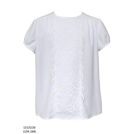 Bluzka biała szkolna z gipiurą dla dziewczynki 121/S/20, wizytowa, do spodni, do spódnicy, e-zygzak.pl