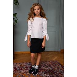 Gładka bluzka dziewczęca wizytowa 133/S/20, galowa, biała,do spódnic, sklep e-zygzak.pl