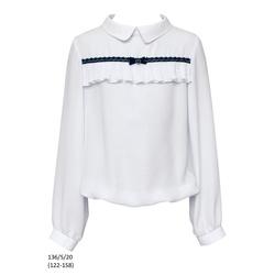 Bluzka biała szkolna dla dziewczynki z plisowaną falbanką 136/S/20, wizytowa, do spodni, do spódnicy, e-zygzak.pl