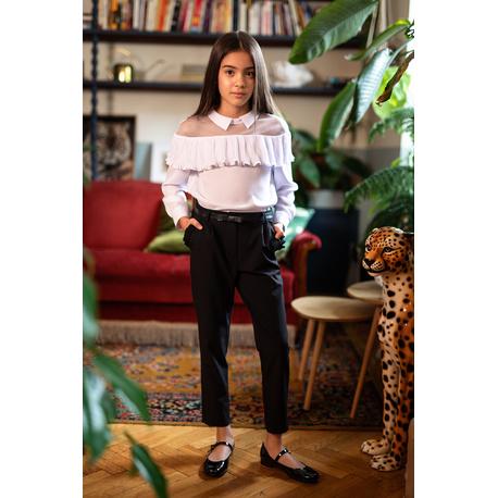 Szkolna bluzka dla dziewczynki z plisowaną falbanką 122/S/20, do spodni, do spódnicy, sklep e-zygzak.pl
