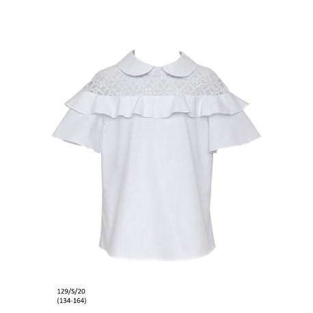 Szkolna bluzka dla dziewczynki z rozkloszowanym rękawem 129/S/20, do spodni, do spódnicy, sklep e-zygzak.pl