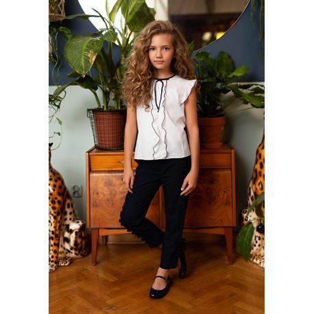 Bluzka biała szkolna dla dziewczynki 123/S/20, wizytowa, do spodni, do spódnicy, e-zygzak.pl