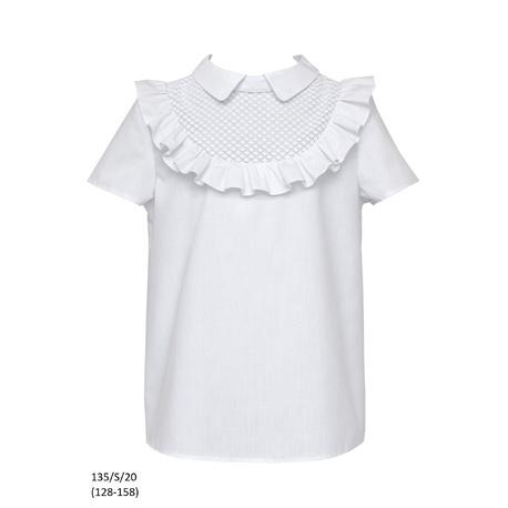 Szkolna bluzka dla dziewczynki z falbanką 135/S/20,na galowo,do spodni, do spódnicy, sklep e-zygzak.pl
