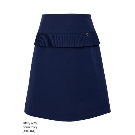 Dziewczęca spódnica z plisowana falbanką 309B/S/20, granatowa, wizytowa, e-zygzak.pl
