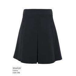 Czarna spodnica dla dziewczynki z kontrafałdami 305A/S/20, na galowo, szkolna, e-zygzak.pl