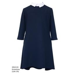 Granatowa sukienka dla dziewczynki z kołnierzykiem 208/S/20, na galowo, ubranka wizytowe, sklep e-zygzak.pl