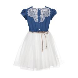 Tiulowa sukienka dziewczęca, z gipiurą OSS-01A, na lato, jeansowa, sklep e-zygzak.pl