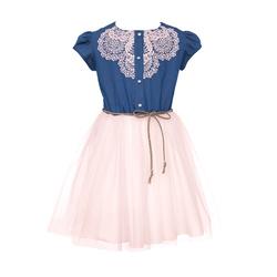 Tiulowa sukienka dziewczęca, z gipiurą OSS-01B, na lato, jeansowa, sklep e-zygzak.pl