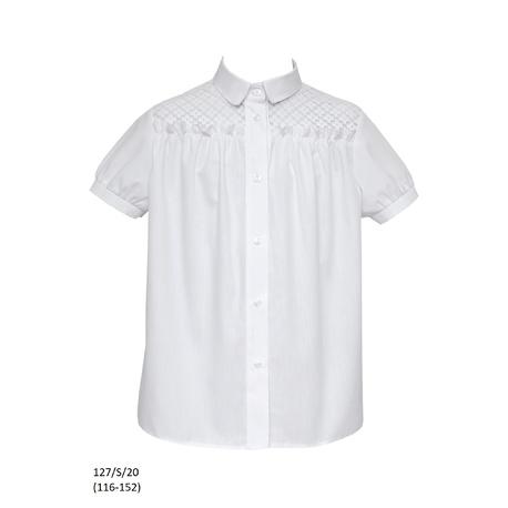 Biała wizytowa bluzka dziewczęca szkolna 127/S/20, na galowo, ubranka wizytowe, sklep e-zygzak.pl