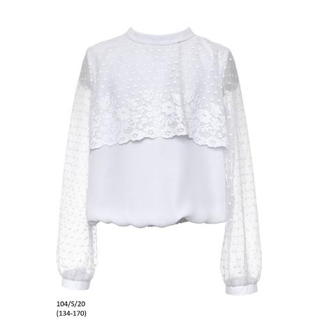 Bluzka biała szkolna dla dziewczynki z koronką 104/S/20, ubranka wizytowe dla dzieci, sklep e-zygzak.pl