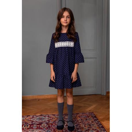 Sukienka dla dziewczynki, szkolna, wizytowa z gipiurą 204B/S/20, ubranaka wizytowe dla dziewczynek, sklep e-zygzak.pl