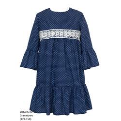 Sukienka dla dziewczynki, szkolna, wizytowa z gipiurą 204A/S/20, ubranka wizytowe dla dziewczynek, sklep e-zygzak.pl