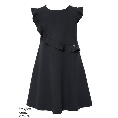 Czarna sukienka dziewczęca szkolna 205A/S/20, wizytowe ubranka dla dziewczynek, sklep e-zygzak.pl