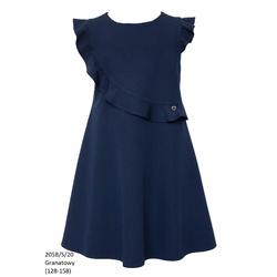 Granatowa sukienka dziewczęca szkolna 205B/S/20, wizytowe ubranka dla dziewczynek, sklep e-zygzak.pl