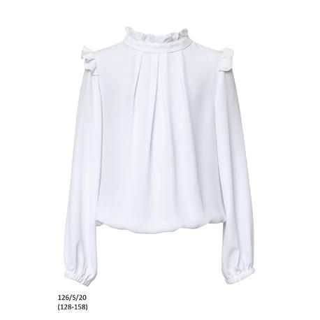 Bluzka biała szkolna dla dziewczynki ze stójką 126/S/20, wizytowe ubranka dla dziewczynek, e-zygzak.pl