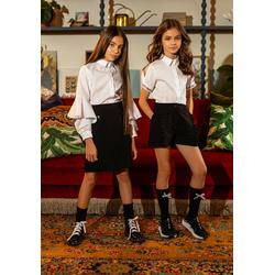 Szkolna biała bluzka dla dziewczynki z krótkim rękawem108/S/20, wizytowe ubranka dla dziewczynki, sklep e-zygzak.pl