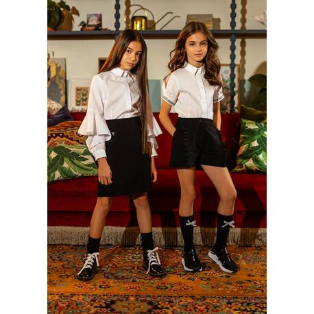 Biała bluzka szkolna z fantazyjnym rękawem 111/S/20, wizytowe bluzki dla dziewczynek, e-zygzak.pl