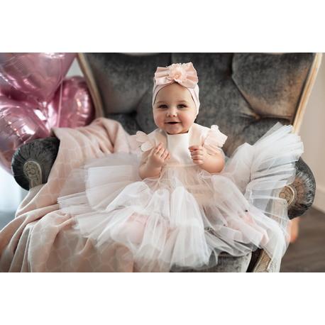 Tiulowa sukienka niemowlęca do Chrztu 1/SMM/01B, wizytowa, elegancka, ubranka dla dzieci, sklep e-zygzak.pl