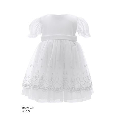 Tiulowa sukienka niemowlęca do Chrztu 1/SMM/02A, wizytowa, elegancka, ubranka dla dzieci, sklep e-zygzak.pl