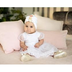 Tiulowa sukienka niemowlęca do Chrztu 1/SMM/05A, wizytowa, elegancka, ubranka dla dzieci, sklep e-zygzak.pl
