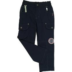 Granatowe spodnie dla chłopca z naszywkami, bawełniane, ubranka dla dzieci, e-zygzak.pl