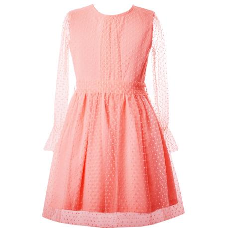 Tiulowa sukienka dla dziewczynki morelowa, wizytowe ubranka dla dziewczynek, sklep e-zygzak.pl