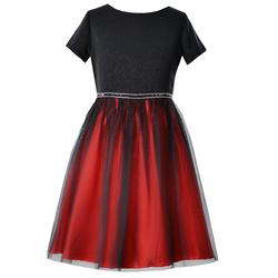 Elegancka sukienka dla dziewczynki Abigail czerwona, z tiulem,wizytowa,rozkloszowana, e-zygzak.pl